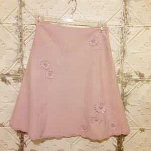 Anne Carson Floral Silk/Linen Skirt